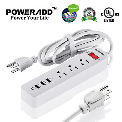 Poweradd 3 Outlets Surge Protector Power Strip with 3 Smart USB Charging Ports