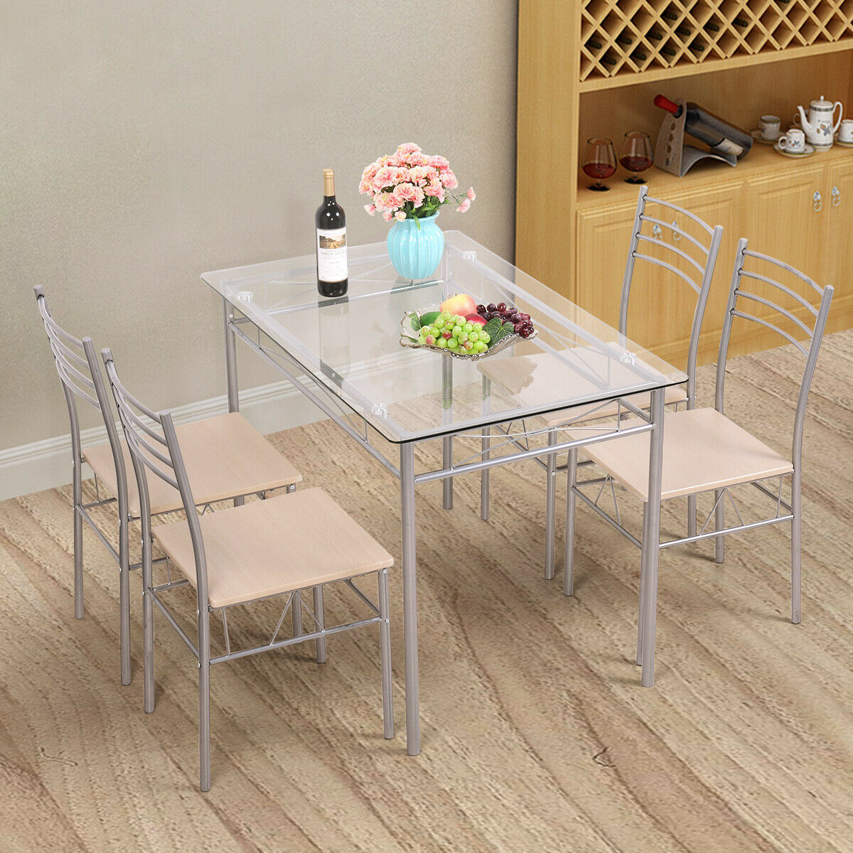 5 Piece Dinning Set Glass Top Table and 4 Chairs Kitchen Breakfast Furniture