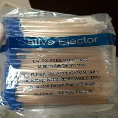 100pcs Dental Saliva Ejectors Latex-free And Non-toxic Blue Tip Clear Body