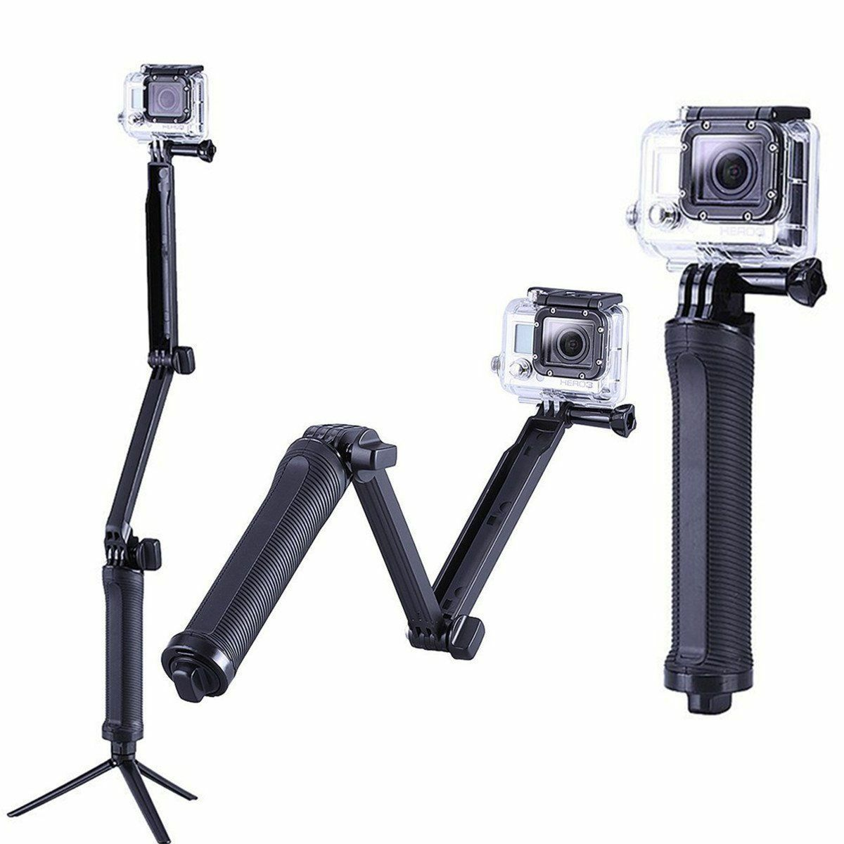 Three 3 way Selfie Handheld Stick Monopod Folding Holder for GoPro Hero 5 4 3 2