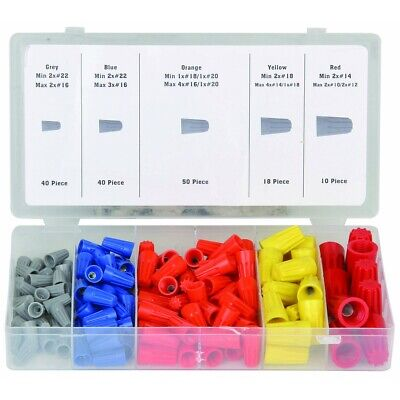 158pc Wire Twist Connectors Assortment Kit Set 22-14 Awg Caps Storage Case Nuts
