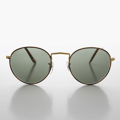 Round Gold Glass Lens Sunglass with Tortoiseshell Rim - Julian (Round Gold Rimmed Sunglasses)