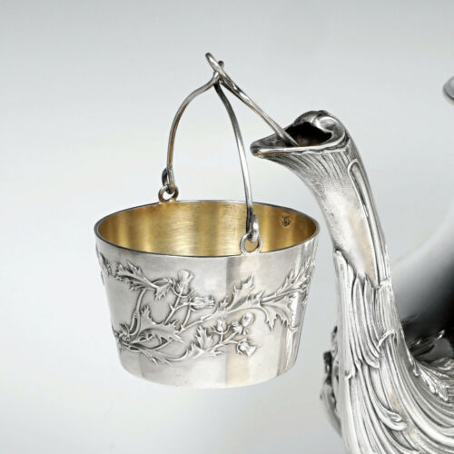 Antique French Sterling Silver Spout Tea Strainer Basket Art Nouveau Thistle