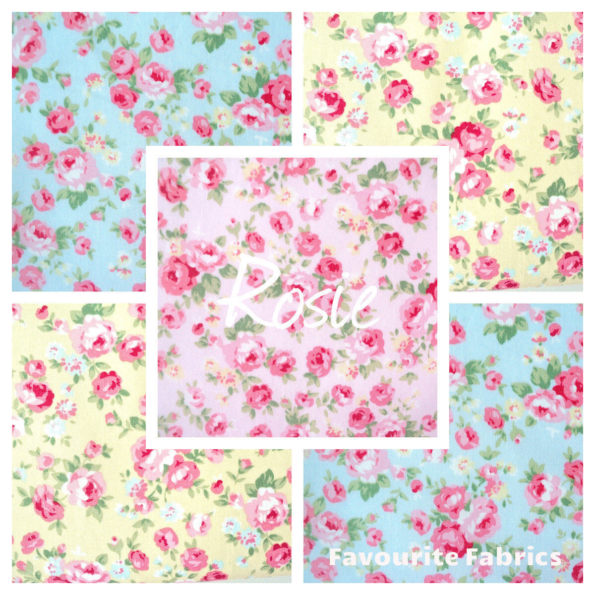 Yellow Floral Stripe Shabby Chic 100/% Cotton Poplin Fabric by the Half Metre
