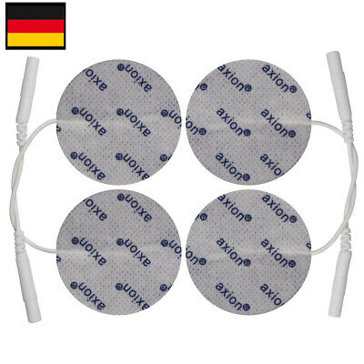4 TENS Elektroden Pads rund 5cm für TENS EMS Gerät 2mm-Stecker passend zB Saneo