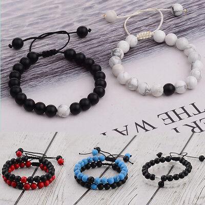2Pcs His & Hers Distance Weave Women Men Natural Stone Couple Bracelets Gift - Adult Friendship Bracelets