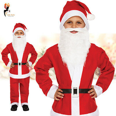 Child Santa Beard (Christmas Child's Boys Santa Suit Costume Father Fancy Dress Kids with Beard)