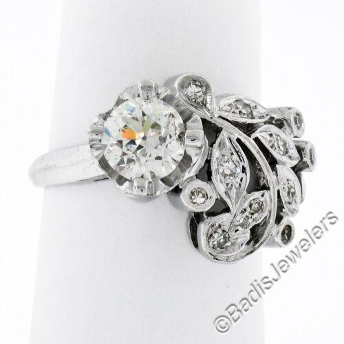 Antique Art Deco 14k White Gold Floral Old European Cut Diamond Solitaire Ring