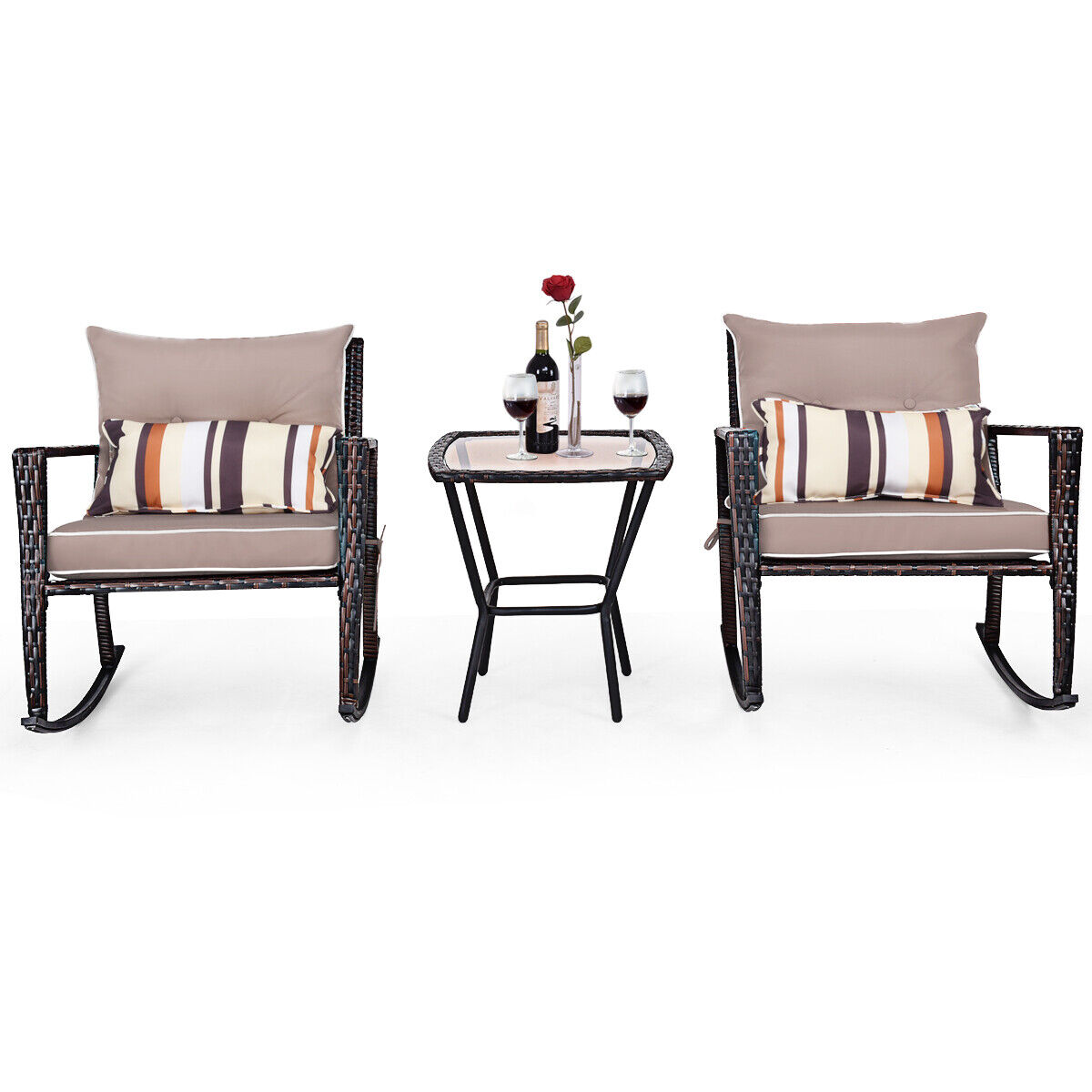 Garden Furniture - 3 PCS Rattan Garden Furniture Bistro Set Rocking Chairs Coffee Table Cushions