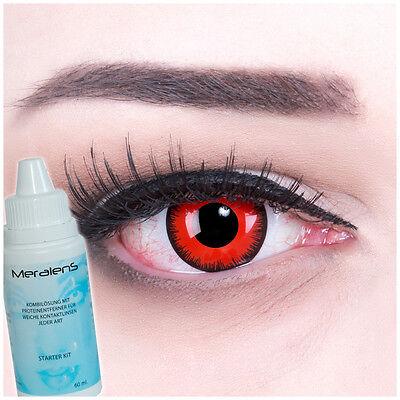 Farbige Kontaktlinsen Red Lunatic GRATIS Komplettset für Halloween Fasching