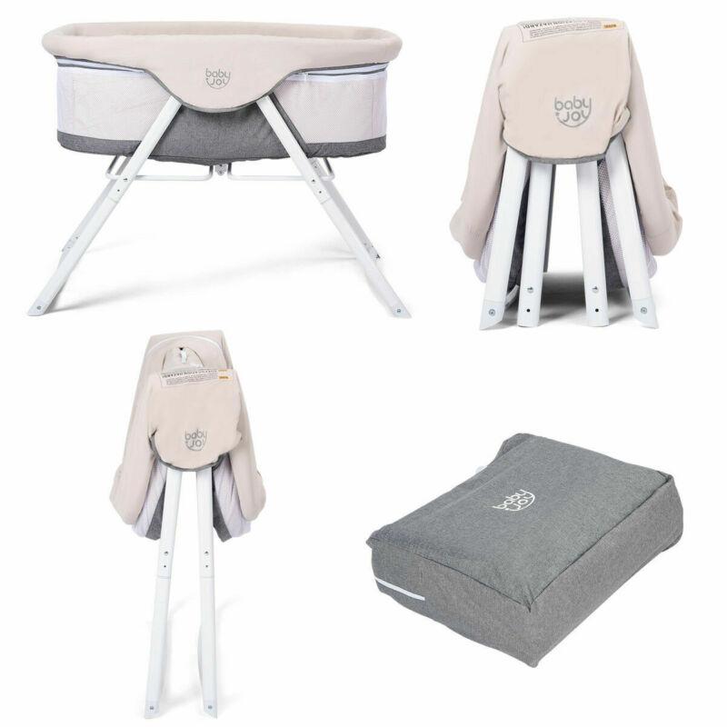 Foldaway Baby Bassinet Crib Newborn Rocking Sleeper Traveler Portable Home Gray