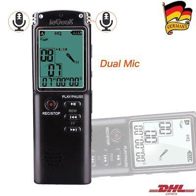 Mini Digital 8GB Digitales Diktiergerät Voice Recorder LCD USB Aufnahmegerät DHL