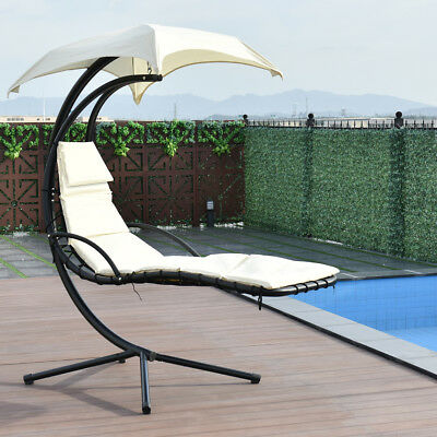 Hanging Chaise Lounger Chair Arc Stand Swing Hammock Chair Canopy Beige