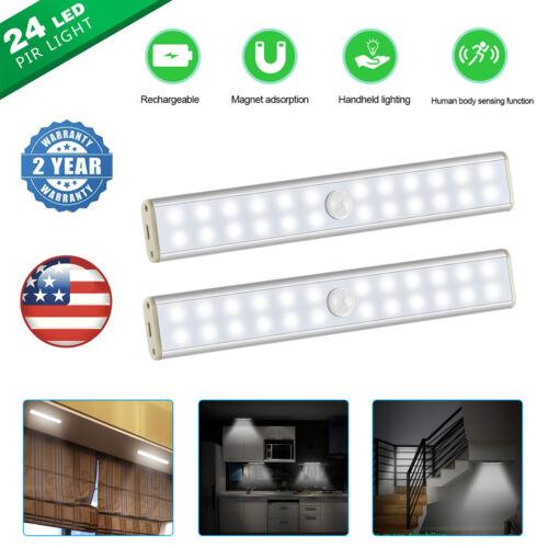 24 LED Under Cabinet Light Motion Sensor USB Rechargeable Wi