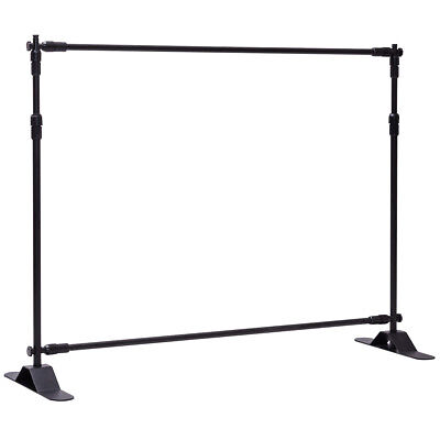 8x8 Banner Stand Adjustable Telescopic Backdrop Display Trade Show Booth Wall