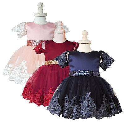 Flower Girl Bows Princess Dress Baby Kids Girls Party Wedding Tulle Tutu Dresses