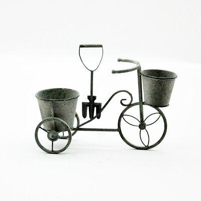 Lead Colour Bicycle Planter, Garden Ornament, Metal, 40cm Wide,  5306 ()