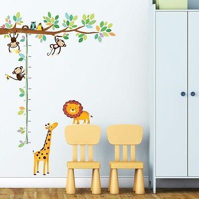 (Decowall DW-1402 Little Monkeys Tree & Animals Height Chart Peel and Stick Nurse)