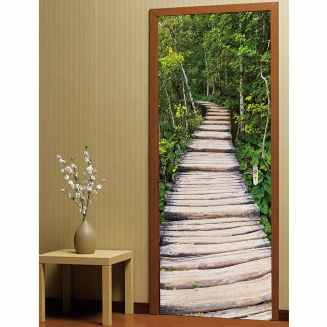 3d door wall sticker decal tree-lined scenery pvc self adhesive