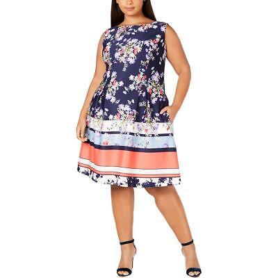 Taylor Womens Floral A-Line Stripe Scuba Dress Plus BHFO 5553