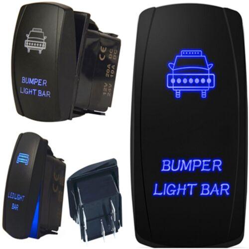 Car Front Bumper Light Bar Blue Light 5 Pins On-Off 12V 20A  Laser Rocker Switch