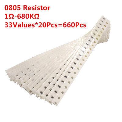 660pcs 33values 0805 1ohm-680kohm Smd Resistor Resistance Assortment Kit 1