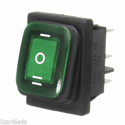Waterproof 3-position Rocker Switch Green Led Onoffon 6-pin Dpdt Ac 10a250v