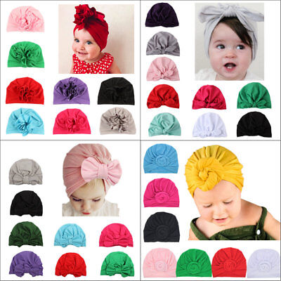 Kids Girls Baby Toddler Turban Knotted Bow Hat Cap Headband Hair Band Headwear ()
