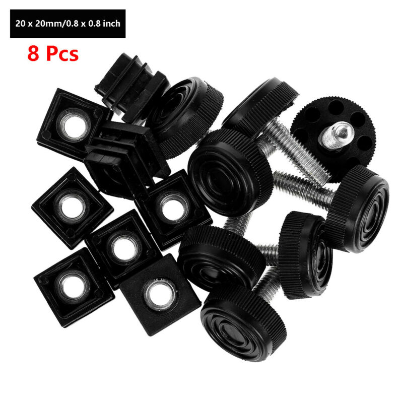 8Pcs 0.8//1.0//1.2-inch Chair//Desks Leg Tips with Adjustable Screw Leveling Feet