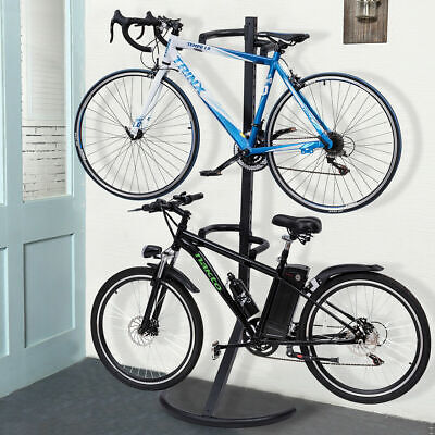 Freestanding Gravity Bike Stand Two Bicycles Rack For Storag
