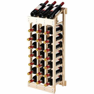 24 Bottle Wood Wine Rack 3 Column 8 Row Storage Display Shelf Free -