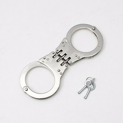 Sliver Professional Double Lock Steel Hinged Police Handcuffs W/ Keys Real EDC
