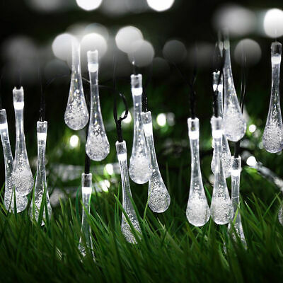 White 30-Count Solar Raindrop String Lights Porch Patio Tree Outdoor Home Decor