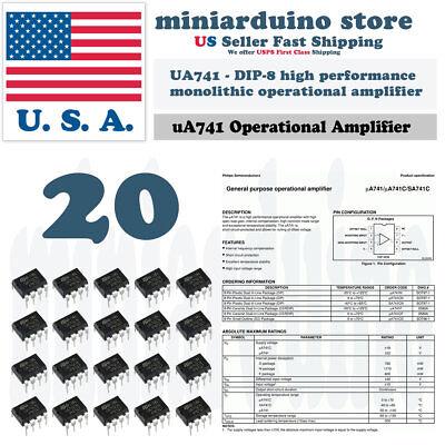 20pcs Ua741cn Ua741 Lm741 Ic St Dip-8 Operational Amplifier