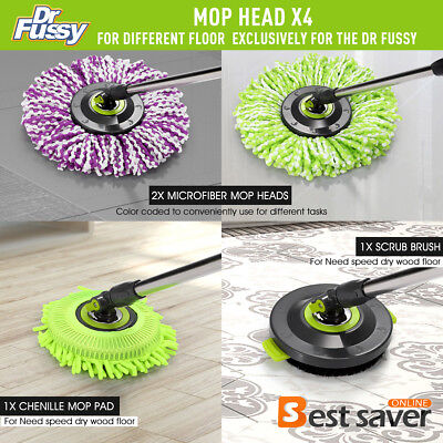360 Replacement Spin Mop Microfiber Mop Heads   Scrub Brush Attachment 4Pcs Set