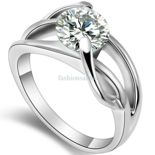Stainless Steel Clear Cubic Zirconia Infinity Ring Womens We