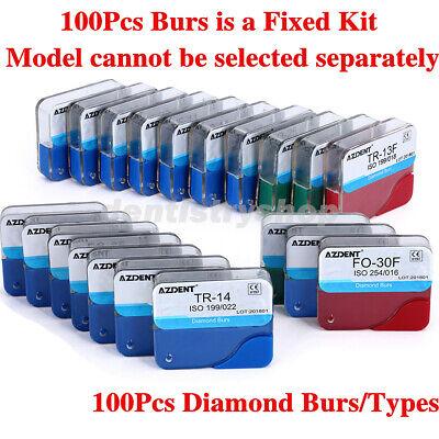 100pcs Dental Diamond Burs For High Speed Handpiece Medium Friction Grip
