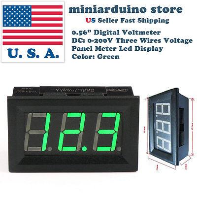 0.56 3 Wire Dc 4-30v0-200v Green Led Digital Voltmeter Module Panel Meter