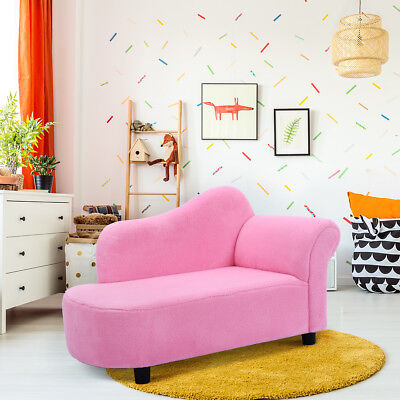 Pink Kids Sofa Armrest Chair Couch Lounge Coral Fleece Children Toddler Gift