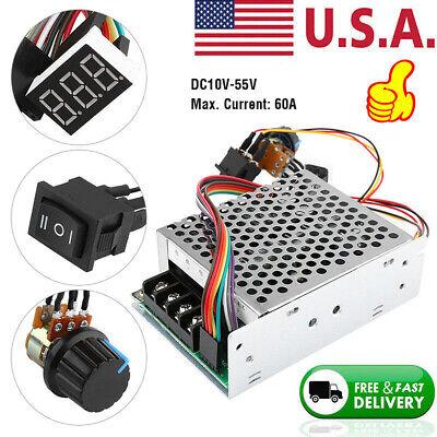 Dc10-55v 12v 24v 36v 60a Reversible Pwm Motor Speed Controller Switch Control Us