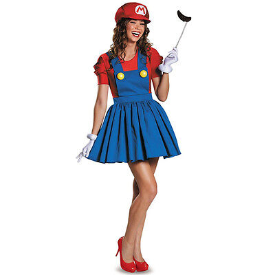 Luigi Damen Kostüme (Super Mario Luigi Bro. Träger Kleid Rock Party Fasching Halloween Kostüm Damen)