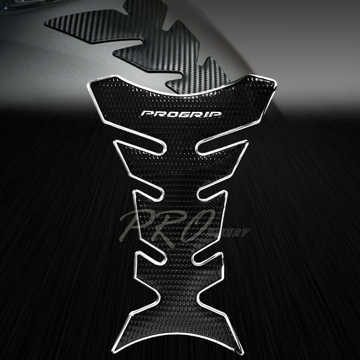 Gas Tank Pad Protector Decal Perforated Black 3D Pro Grip Fuel Oil Chromed Black