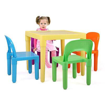 Outdoor School Furniture - Kids Plastic Table 4 Chairs Set School Home Fun Furniture Play Indoor Outdoor