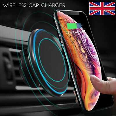 ☆ 2in1 Qi Wireless Car Charger Magnetic Phone Holder Mount For iPhone 11 Pro Max