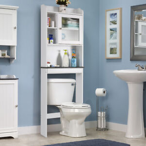 Over The Toilet Bath Cabinet Bathroom Space Saver Storage Organizer White  New