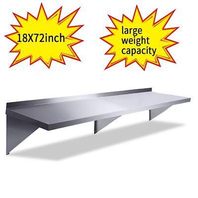 Floating Wall Shelf 18x72 Stainless Steel Restaurant Bar Cafe Kitchen Storage