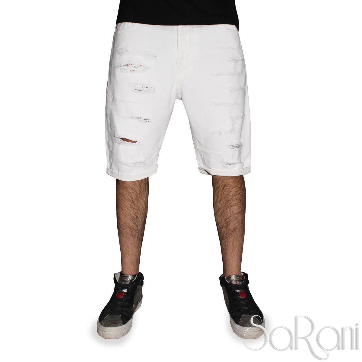 Bermuda Mann Akiro ' Kurze Hosen Casual Zerissen Denim Weiße Baumwolle Sarani