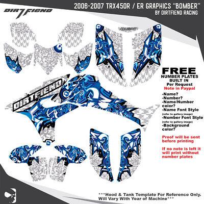 TRX450R Graphics 06-07 DFR Bomber White Blue Full Wrap Honda TRX 450R ATV Decal