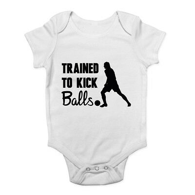 Trained to Kick Balls Boys Girls Bodysuit Vest Baby Grow - Girls Kick Balls