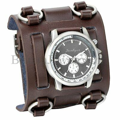 - Punk Style Men's Wide Leather Watch Three Leather Straps Cuff Fashion Wristwatch